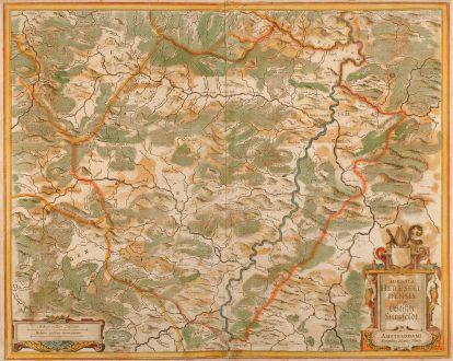 Antike Landkarten, Hondius, Deutschland, Hersfeld, 1620: Abbatia Heresfeldensis vulgo t Stifftt Hirsfeldt. Amstelodami Sumptibus Henrici Hondy