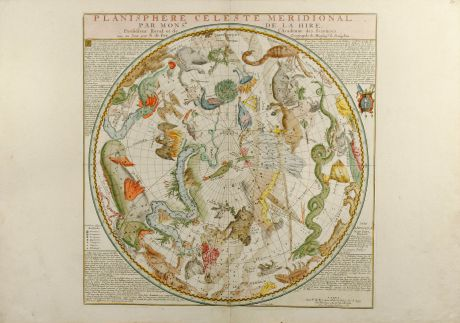 Antique Maps, de Fer, Celestial Charts, 1705: Planisphere Celeste Meridionale (and) Planisphere Celeste Septentrional
