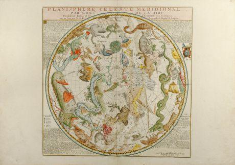 Antike Landkarten, de Fer, Himmelskarten, 1705: Planisphere Celeste Meridionale (and) Planisphere Celeste Septentrional