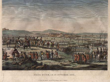 Antike Landkarten, Pigeot, Deutschland, Ulm, Napoleon, 1810: Prise d'Ulm, le 17 Octobre 1805.