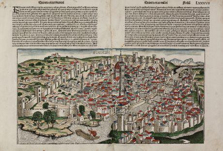 Antike Landkarten, Schedel, Italien, Florenz, 1493: Florencia