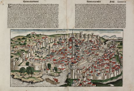 Antique Maps, Schedel, Italy, Florence, Firenze, 1493: Florencia