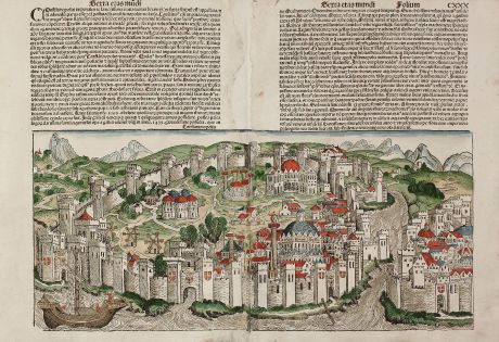 Antique Maps, Schedel, Turkey, Istanbul, Constantinople, 1493: Constantinopolis