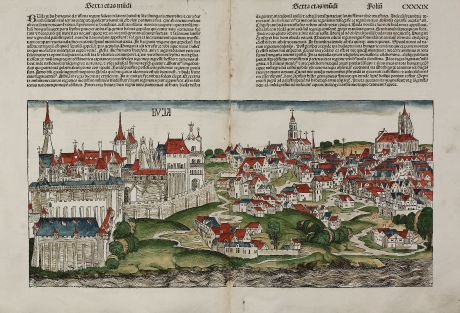 Antique Maps, Schedel, Austria - Hungary, Budapest, 1493: Buja