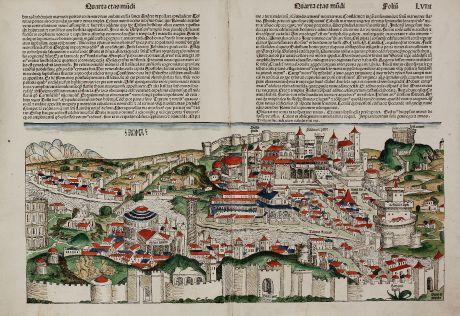 Antique Maps, Schedel, Italy, Rome, Roma, Genova, 1493: Roma