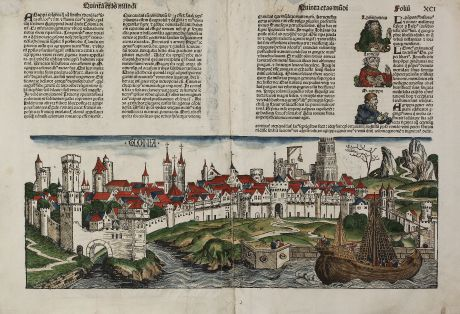 Antique Maps, Schedel, Germany, Cologne, Augsburg, 1493: Colonia