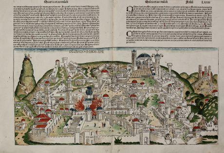 Antike Landkarten, Schedel, Heiliges Land, Jerusalem, 1493: Destruccio Iherosolime