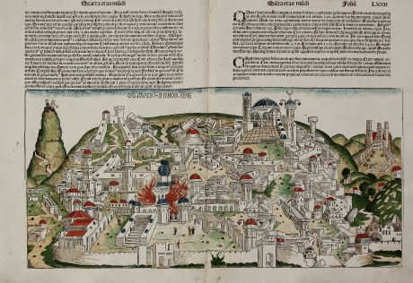 Antique Maps, Schedel, Holy Land, Jerusalem, 1493: Destruccio Iherosolime