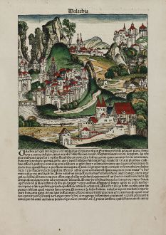 Antique Maps, Schedel, Romania - Moldavia, Wallachia, 1493: Walachia