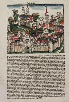 Antique Maps, Schedel, British Islands, England, Spain, 1493: Anglia / Hispania