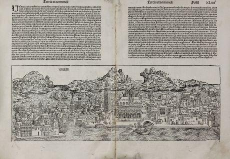 Antique Maps, Schedel, Italy, Venice, Venetia, 1493: Venecie