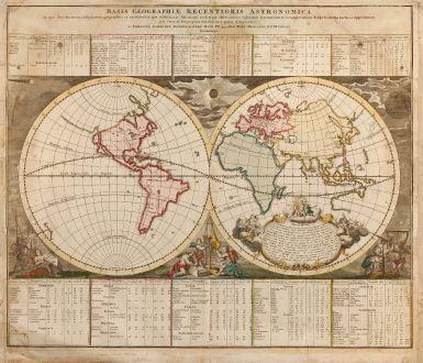 Antike Landkarten, Doppelmayr, Weltkarten, 1740: Basis Geographiae Recentioris Astronomica
