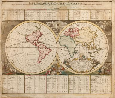 Antique Maps, Doppelmayr, World Maps, 1740: Basis Geographiae Recentioris Astronomica