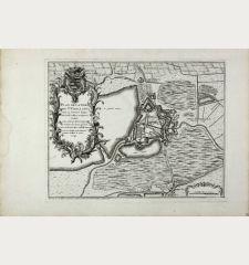Plan de la ville de St. Ghillain situee sur la riviere d'Hayne entre Conde et Mons en Haynaut : dediee a son altesse...