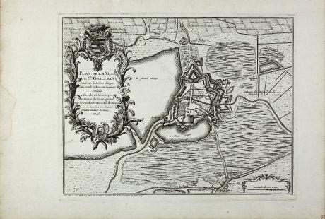 Antike Landkarten, Bailleul le Jeune, Belgien, Hennegau, Saint-Ghislain, 1745: Plan de la ville de St. Ghillain situee sur la riviere d'Hayne entre Conde et Mons en Haynaut : dediee a son altesse...