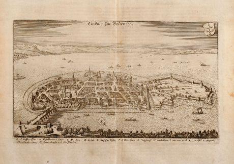 Antike Landkarten, Merian, Deutschland, Lindau, Bodensee, 1643: Lindaw Im Bodensee