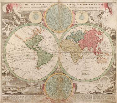 Antike Landkarten, Homann, Weltkarte, 1720: Planiglobii Terrestris cum utroq Hemisphaerio Caelesti Generalis Exhibitio