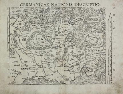 Antike Landkarten, Münster, Deutschland, 1552: Germanicae Nationis Descriptio.