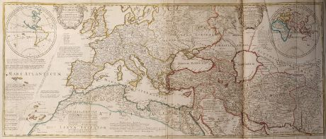 Antike Landkarten, de l Isle, Mittelmeer, Europa, 1709: Theatrum Historicum (and) An Historical Map of the Roman Empire