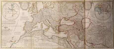 Antike Landkarten, de l Isle, Mittelmeer, Europa, 1709: Theatrum Historicum (and) An Historical Map of the Roman Empire