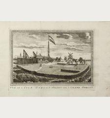Vue de l' Isle Onrust / Gezigt van't Eiland Onrust.