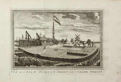 Antique Maps, van der Schley, Southeast Asia, Indonesia, Java, Jakarta, V.O.C.: Vue de l' Isle Onrust / Gezigt van't Eiland Onrust.