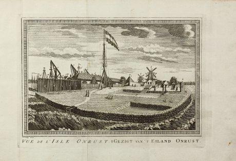 Antike Landkarten, van der Schley, Südost Asien, Indonesien, Java, Jakarta, V.O.C.: Vue de l' Isle Onrust / Gezigt van't Eiland Onrust.