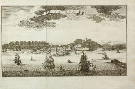 Antike Landkarten, van der Schley, Südost Asien, Malaysia, Malakka, V.O.C.: Malaka