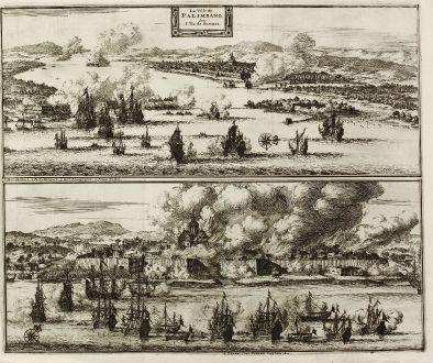 Antike Landkarten, van der Aa, Südost Asien, Indonesien, Sumatra, Palembang: La Ville de Palimbang dans l'Ile de Sumatra.
