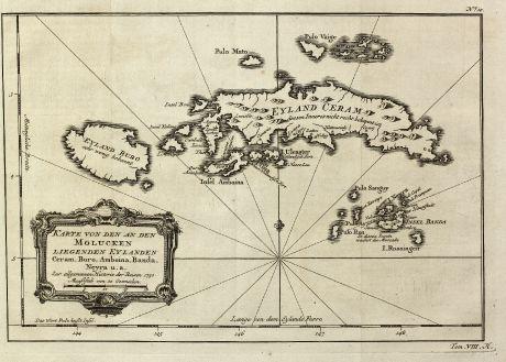 Antique Maps, Bellin, Southeast Asia, Indonesia, Moluccas, 1760: Karte von den an den Molucken liegenden Eylanden Ceram, Buro, Amboina, Banda, Neyra u. a.
