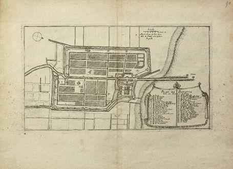 Antike Landkarten, de Fer, Südost Asien, Indonesien, Java, Jakarta, Batavia: Plan de Batavia