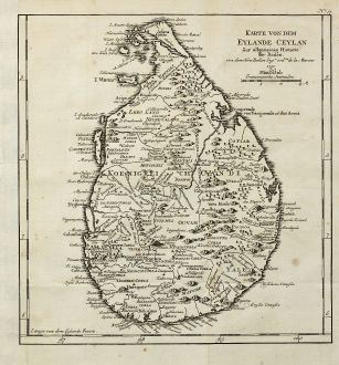 Antique Maps, Bellin, India, Ceylon, Sri Lanka, 1760: Karte von dem Eylande Caylan