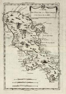 Antike Landkarten, Bonne, Mittelamerika - Karibik, Martinique, 1779: Carte de l'Isle de la Martinique