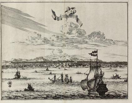 Antique Maps, van der Aa, Southeast Asia, Indonesia, Moluccas, Ambon, VOC: La Ville d'Amboine. Capitale des Iles Molucques.