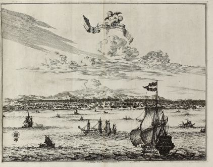 Antike Landkarten, van der Aa, Südost Asien, Indonesien, Molukken, Ambon, V.O.C.: La Ville d'Amboine. Capitale des Iles Molucques.