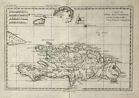 Antike Landkarten, Bonne, Mittelamerika - Karibik, Dominikanische Republik, 1774: Carte de l'Isle de St. Domingue une des Grandes Antilles, Colonic Francoise et Espagnole.