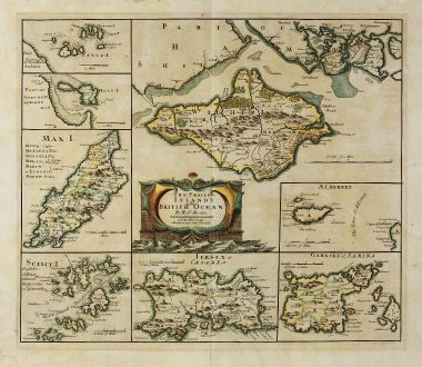 Antique Maps, Morden, British Islands, Isle of Man, Jersey, Wight, Guernsey: The smaller Islands in the British Ocean. By Robt. Morden. Sold by Abel Swale Awnsham and John Churchill.