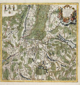 Antike Landkarten, Weis, Deutschland, Alemannien, 1737: Pagi Et Exstantiores Quidam Comitatus Veteris Alamanniae Et Burgundiae Transiuranae Qui Augustae Genti Habsburgicae vel...