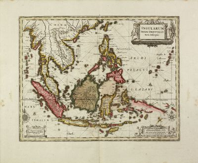 Antique Maps, Janssonius, Southeast Asia, 1630 (1690): Insularum Indiae Orientalis Nova Descriptio.