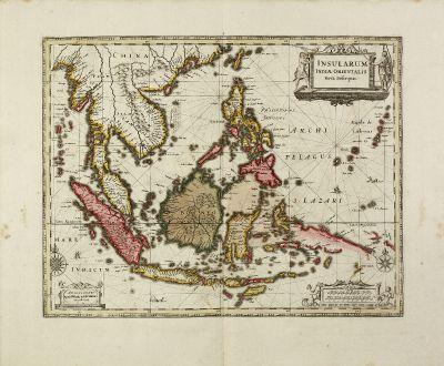 Antike Landkarten, Janssonius, Südost Asien, 1630 (1690): Insularum Indiae Orientalis Nova Descriptio.