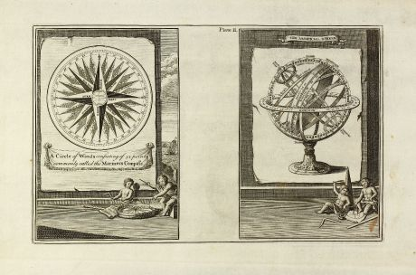 Antique Maps, Bowen, Compass rose, armillary sphere, 1747: A Circle of Winds consisting of 32 points commonly called the Mariners Compass / Artificial Sphere