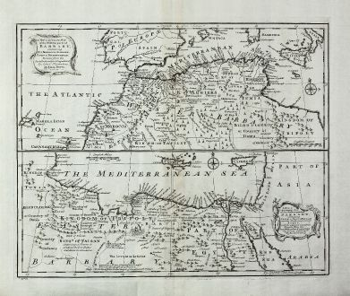 Antike Landkarten, Bowen, Mittelmeer, Nordafrika, 1747: A New and Accurate Map of the Western Part of Barbary... & A New and Accurate Map of the Eastern Part of Barbary...