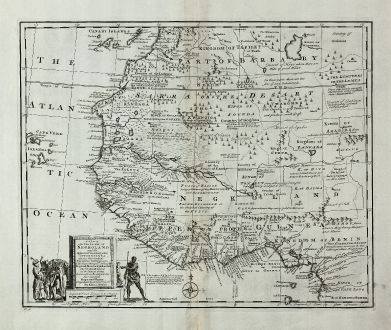 Antike Landkarten, Bowen, Westafrika, Westafrika, 1747: A New & Accurate Map of Negroland and the Adjacent Countries, also Upper Guinea ...