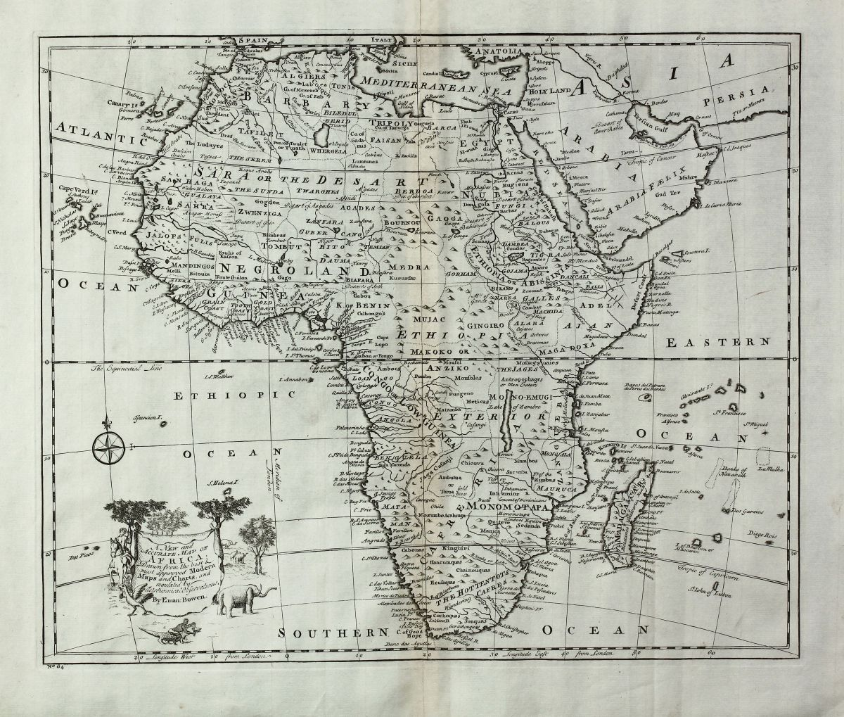 A new and accurate map of africa bowen 1747 africa bowen emanuel a new and accurate map of africa ccuart Images