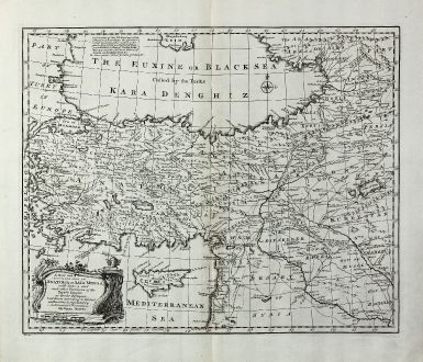 Antike Landkarten, Bowen, Türkei, Schwarzes Meer, Zypern, 1747: A New and Accurate Map of Anatolia or Asia Minor with Syria and such other Provinces of the Turkish Empire ...