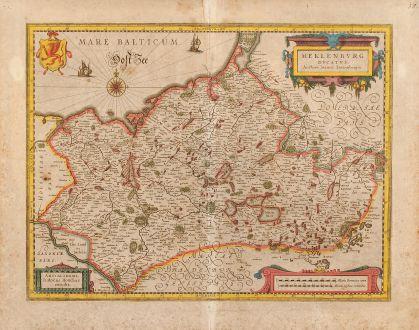 Antike Landkarten, Hondius, Deutschland, Mecklenburg, 1610: Meklenburg Ducatus. Auctore Ioanne Laurenbergio.