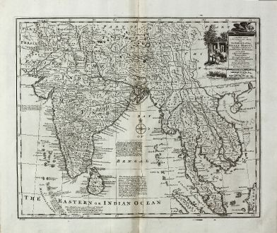 Antike Landkarten, Bowen, Indien, Sumatra, Thailand, Singapur, Malaysia, 1747: A New and Accurate Map of the Empire of the Great Mogul, ...