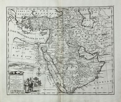 Antike Landkarten, Bowen, Mittlerer Osten, Arabische Halbinsel, Rotes Meer, 1747: A New & Accurate Map of Turkey in Asia, Arabia, &c. Drawn from the Best Authorities ...