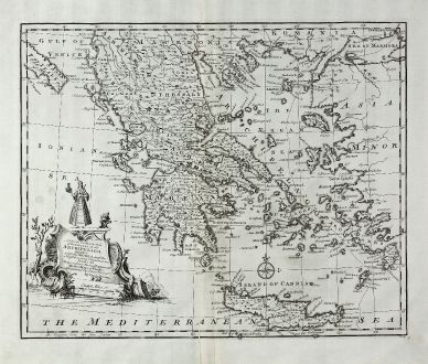 Antique Maps, Bowen, Greece, 1747: A New & Accurate Map of the Islands of the Archipelago, together with the Morea, and the Neighbouring Countries in Greece...