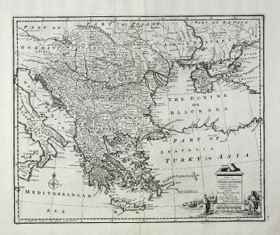 Antike Landkarten, Bowen, Griechenland, Mazedonien, 1747: A New & Accurate Map of Turky in Europe, with the Adjacent Countries of Hungary, Little Tartary &c ...